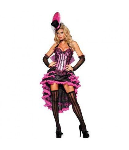 Moulin Rouge στολή ενηλίκων χορεύτριας καμπαρέ με καπελίνο
