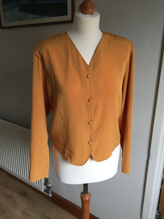Vintage blouse  1970s  mustard yellow  size 14