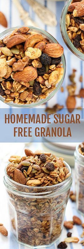 Homemade Sugar Free Granola Recipe. Made with healthy nuts, seeds, oats and coconut oil. Naturally sweetened with apple sauce and raisins. No refined sugar added.