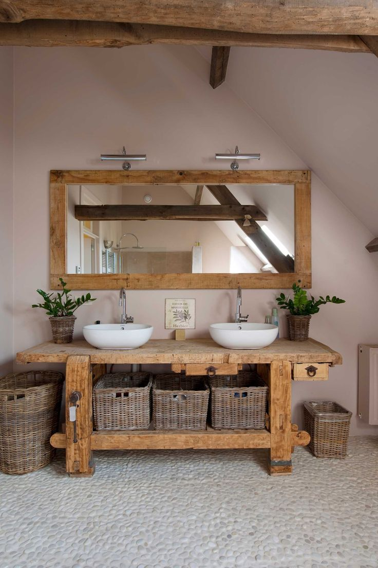 Holz Badezimmer Waschbecken Flusssteine Badezimmer Holz