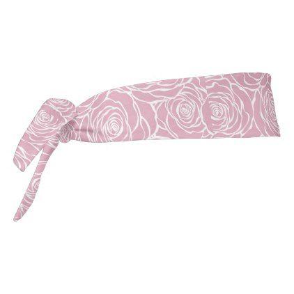 Peoniesfloralwhitepinkpatterngirlymodernbea Tie Headband - patterns pattern special unique design gift idea diy