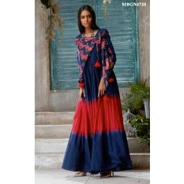 Blue and Red Kurti  Bedecked with ombre dye and complementing potli-button placket, this graceful fit-and-flare kurti combines traditional aesthetics with contemporary fashion.It is crafted in cotton voile with mirror work on the neckline and tie up detail on the sleeves with pom poms.It comes with a printed cotton stole with handcrafted tassels.
