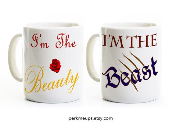 Beauty and the Beast Coffee Mugs Inspired Gift for by PerkMeUps