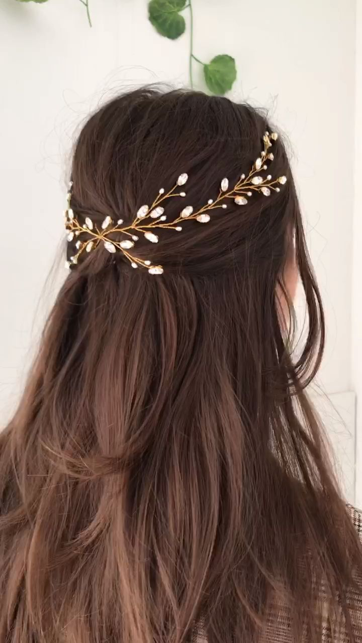 Delicate gold-plated handwired Swarovski Crystal and freshwater pearl bohemian bride wedding hair vine inspired by trailing vines for an ethereal fairytale vibe - LILY hairvine by DEBBIE CARLISLE. Handmade to order in our Sheffield UK jewellery studio and shipping worldwide.