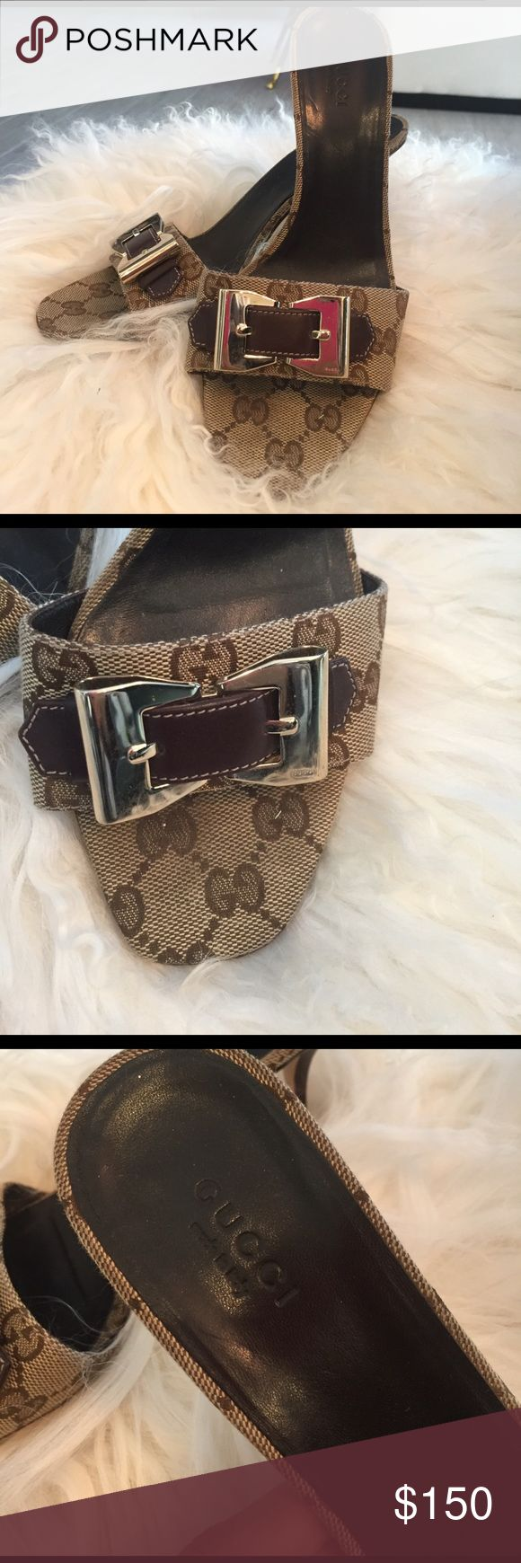 Gucci Heels with Gold Buckle Great heels for a great price! Pretty good condition. The bottom has some wear but nothing visible. Gold buckle with brown leather strap across the front. Size 8. The only imperfection on the gold part is pictured (little black dots). Gucci Shoes Heels
