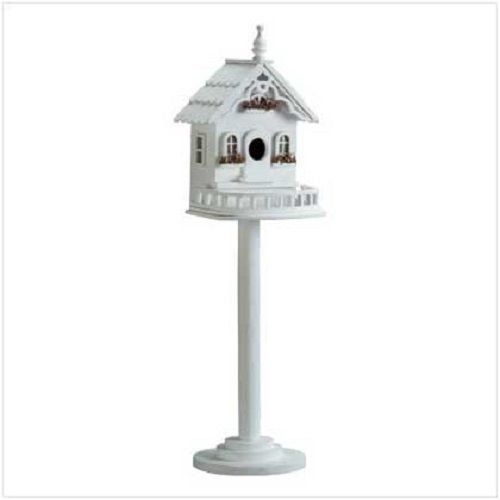 GHP 9 38 x 8 38 x 29 14 Wood Tall White Victorian Birdhouse on Stand *** Clicking on the image will lead you to find similar product