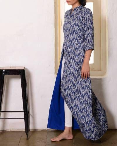 Blue Low Slit Cape I Shop at :http://www.thesecretlabel.com/designer/sugandh