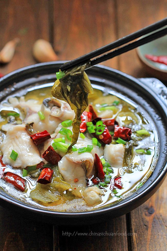 SUAN CAI YU (hot and sour fish soup with pickled mustard greens) [China, Sichuan Province] [chinasichuanfood] [sichuan, szechwan, szechuan]