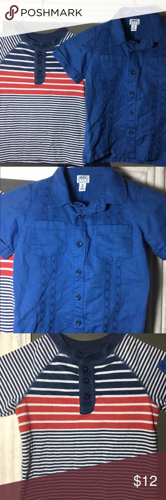 Bundle of two Old Navy shirts EUC EUC. 1 stripes knit shirt with buttons at neck. 1 button down embroidered navy shirt. Both size 4T. Shirts & Tops