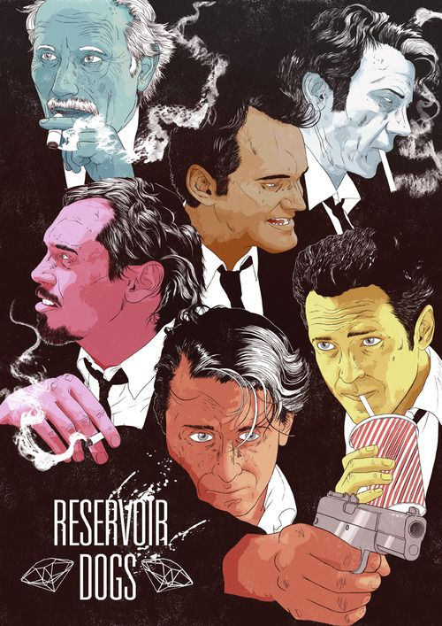 Minimalist Movie Poster: Reservoir Dogs by James Fenwick for Cult Cinema Sunday