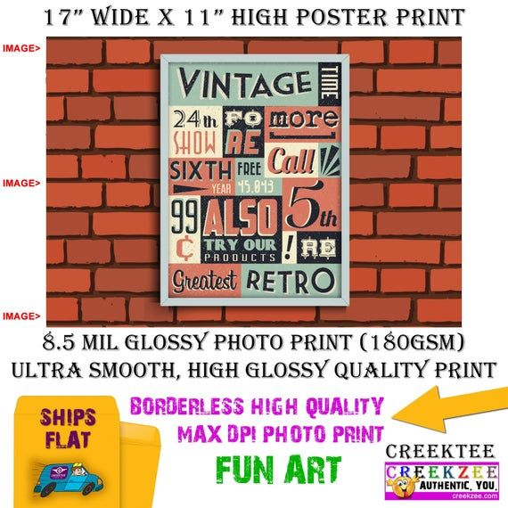 11x17 Poster Photo Print Art Of Brick Wall With Retro Vintage Poster Landscape Orientation High Quality Glossy Smooth Photo Print In 2020 Photo Posters 11x17 Poster Vintage Posters