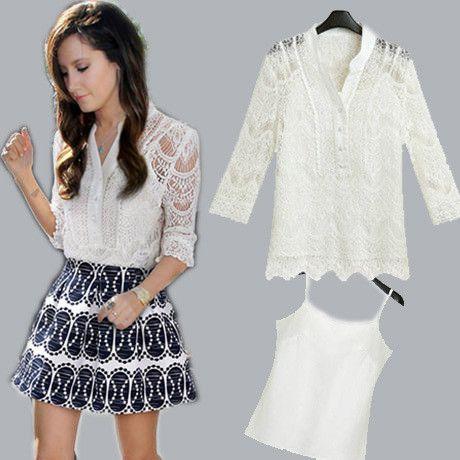 2016 Fashion 2-part Set Tops High Street White Lace Summer Blouses Women Work Wear Office Shirt Camisas Blusas Renda Femininas