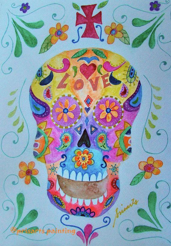 Folk Art Calavera Sugar Skull Dia de los Muertos by prisarts  PRISTINE CARTERA-TURKUS, DAY OF THE DEAD MEXICAN ART PAINTING, GREAT GIFT, PERFECT PRESENT, MOTHER, FATHER, FAMILY, BROTHER, DOCTOR, NURSE, PROFESSOR, CHEF, NURSE, FRIEND, AMIGO, MARIACHI, LOVE, COUPLE, BEST-SELLER