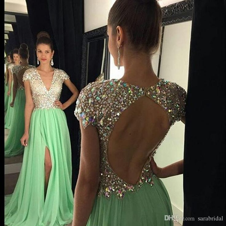 2016 MInt Green Rhinestones Prom Dresses Deep V-neck Tight -High Split Evening Dress Long Cap Sleeve Backless Pageant Gown Luxury shj