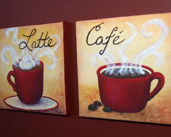 Morning coffee 8x8 original kitchen canvas painting by 1artisanway canvas paintings - Painting ideas for the kitchen ...