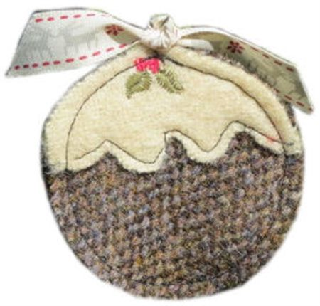Harris Tweed Christmas pudding (brown) Tree Decoration or brooch perhaps.