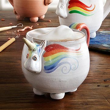 Look what I found at UncommonGoods: Elwood the Rainbow Unicorn Mug for $38 #uncommongoods