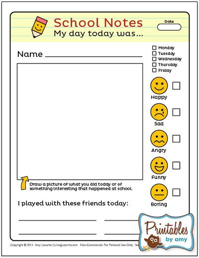 School-Notes-©LivingLocurto... Neat idea to get kids reflect on the day