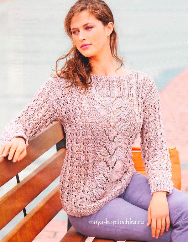 Очень женственный пуловер из меланжевой пряжи