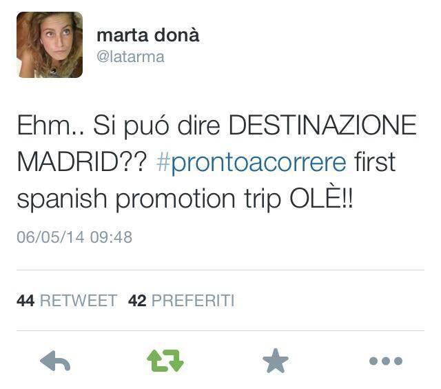 6 maggio... e all'improvviso te li trovi a Madrid.... inizia la promozione spagnola, due giorni che cominceranno con la presentazione del disco all'Ambasciata italiana a Madrid, probabilmente uno showcase... i fans spagnoli sono in visibilio, la Sony Spain gli scrive un tweet di benvenuto e lui non dimentica Cremonini e il suo nuovo album.