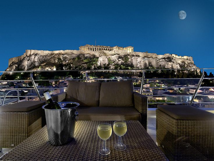 The roof terrace of Plaka Hotel has a roof garden with a superb view to the Acropolis, the old city of #Plaka, Monastiraki area, Ancient Agora and Lycabettus hill. From May to October you can enjoy your drink and a light snack on the roof garden bar open. #Athens