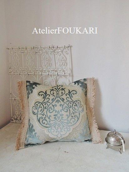 モロッコ*インテリア生地クッションカバー*パステルブルー- モロッコ雑貨とモロッコファッション Atelier FOUKARI