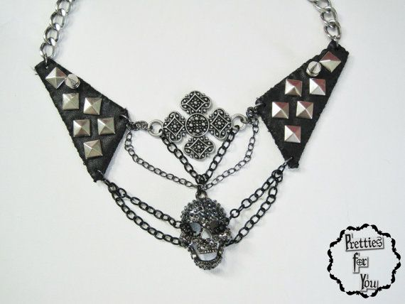 Sexecutioner  leather & metal choker by PrettiesForYouShop on Etsy