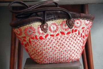 Embroided straw bag