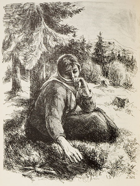 Illustration of a scene from Knut Hamsuns awardwinning book The Growth of the Soil, this is Inger, by her childs grave. By norwegioan artist Borghild Rud. I actually own this drawing! : )