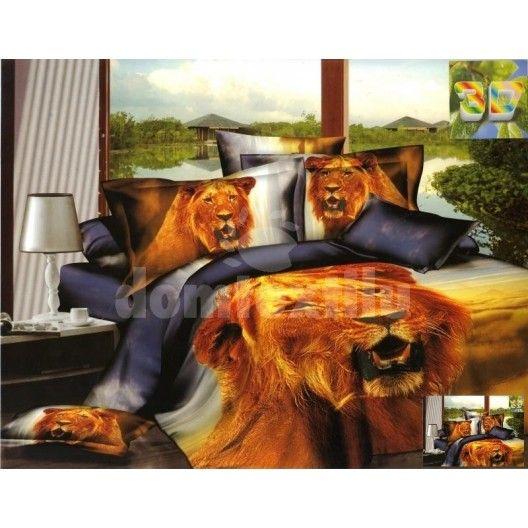 Bavlnené posteľné obliečky sivej farby s motívom hnedého leva