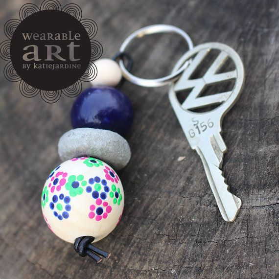 Flossie - keyring - Hand painted beads - floral - cement beads - navy and pink on Etsy, $15.00 AUD