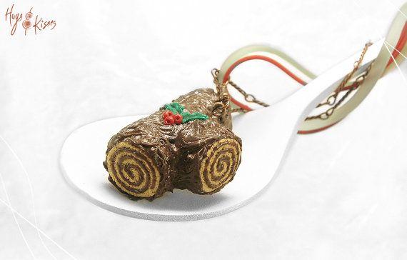Christmas Yule Log Necklace, Buche de Noel Necklace, Miniature Food Jewelry