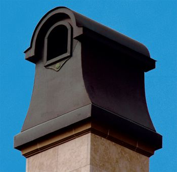 "#LandonChimneyCap Beach Sheet Metal Company chimney caps are designed to not only add that special ""finishing touch"" to your chimney but to also protect the chimney from damaging rain, ice, birds and rodents. Chimney caps should appear to have been designed as a part of the home – not as an after-thought. #HomeArchitecture #BeachSheetMetal"