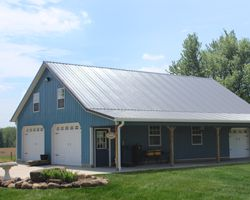 A 34x48x10 pole barn with attic trusses and a 8x48 open lean-to.