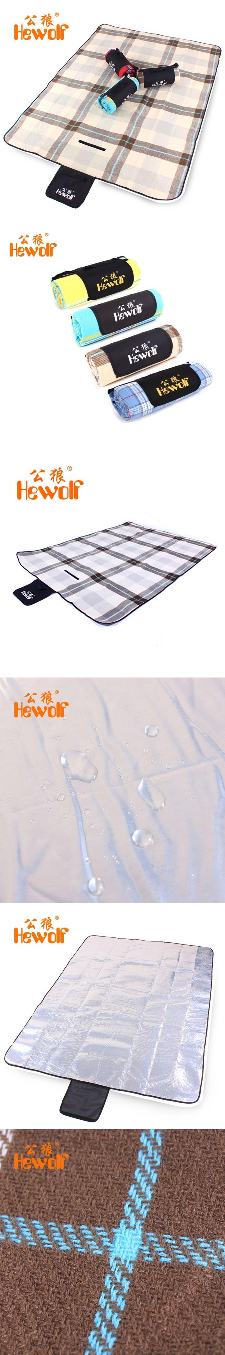 Hewolf Cashmere Picnic Mat waterproof Aluminum Film Tent Sleeping Pad Foldable Beach Camping mat blanket Cushion 170*130cm