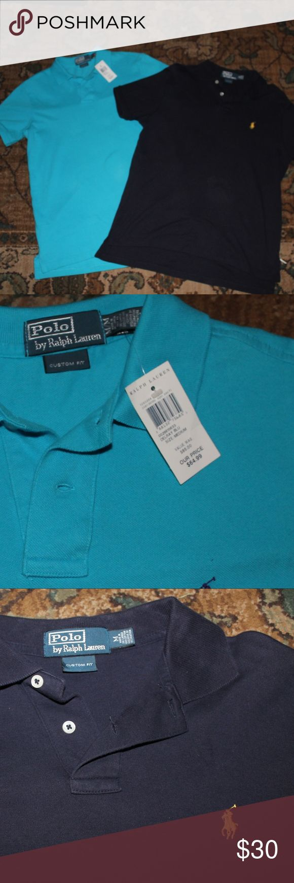 2 Custom Fit Medium Polo Shirts One is new with tags. Sky blue and navy blue polo shirts. Both custom fit and both size medium. Polo by Ralph Lauren Shirts Polos