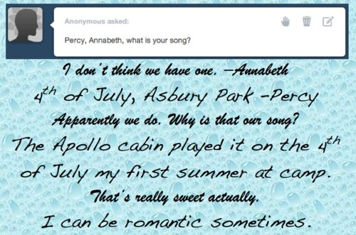 awwwwww But that sounds like it'd be PERCY'S song, how is it their song?