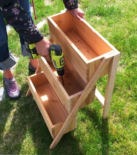 Ana White | Build a $10 Cedar Tiered Flower Planter or Herb Garden | Free and Easy DIY Project and Furniture Planter