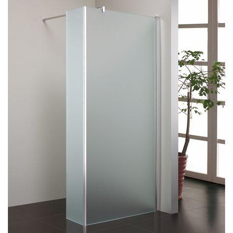 Blinq Shower inloopdouche melkglas met 30cm zijwand
