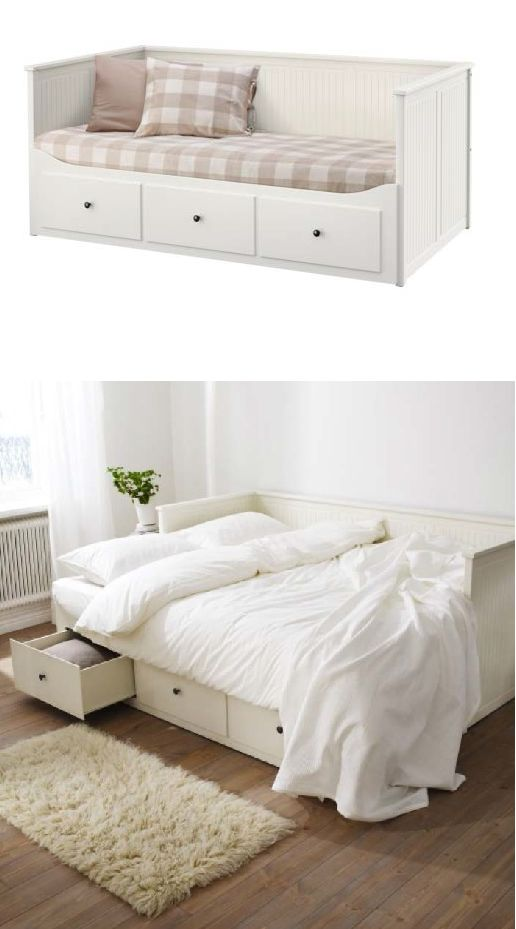 Sofa By Day And Bed At Night The Ikea Hemnes Daybed Frame Has 3 Drawers Built In To Duvets Pillows