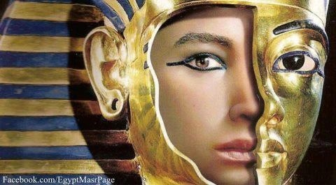 ❣ this is fascinating!  The mask of Tutankhamon shown with the facial reconstruction by a forensic artist.