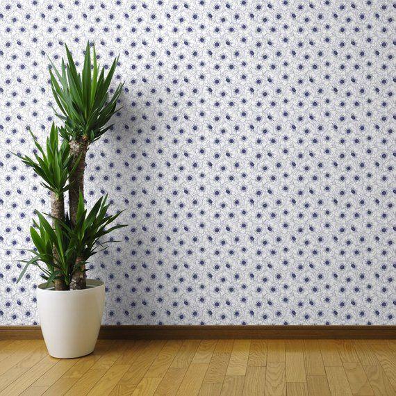 Navy Wallpaper White Anemones Navy By Pattysloniger Navy Etsy Peel And Stick Wallpaper Dots Wallpaper Wallpaper Roll