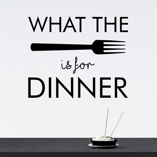 Wallsticker What the fork is for dinner - mange forskellige farver