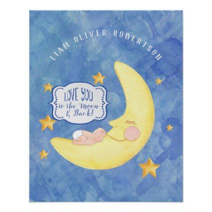 To the Moon n Back Star Baby Boy Name Watercolor Poster - baby shower ideas party babies newborn gifts