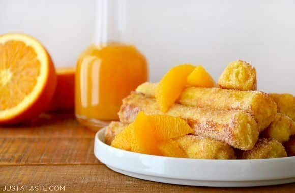 wondering if instead of frying I could do a batch & bake on my flexi-flat.... French Toast Roll-Ups with Orange Syrup Recipe