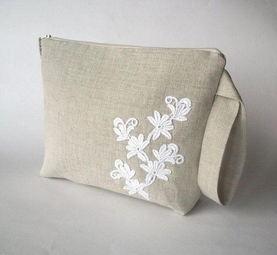 Knitting, crochet project bag, wristlet, medium sized, natural grey linen