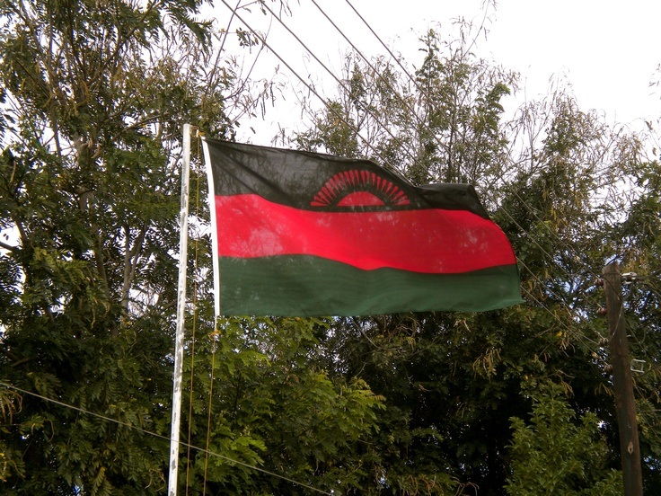 Malawi flag on road in Blantyre