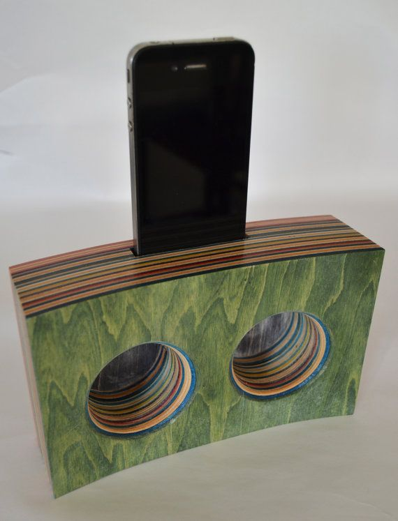 Double Speaker/Amplifier for Iphone made from Reclaimed Skateboards on Etsy, $80.00
