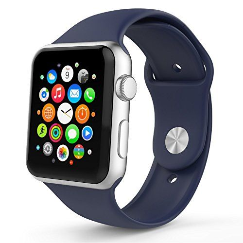 Buy Apple Watch Band, Asstar Soft Silicone Replacement Sport Style iWatch Band for Apple Wrist Watch 38mm Models Bundle with Clear case, Not Fit 42mm version 2015 (38MM Navy) NEW for 5.99 USD | Reusell