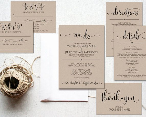 We Do Wedding Invitation Template, Rustic Kraft Invitation, Cheap Invitation, DIY, Kraft Printable, PDF Instant Download, WBWD4